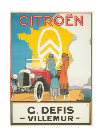 1920s Citroen Advertisement with Two Flappers