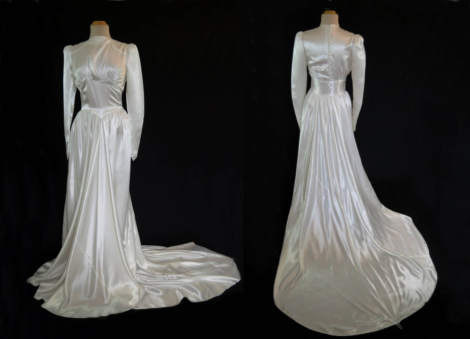 Hollywood glamour Art Deco wedding dress with train