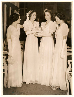 1930s Debutantes in White Long Dresses