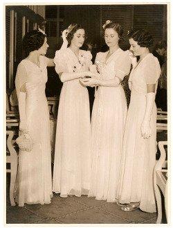 1930s Debutantes in White Long Dresses