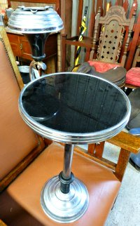 Chrome and Black Glass Ashtray Table
