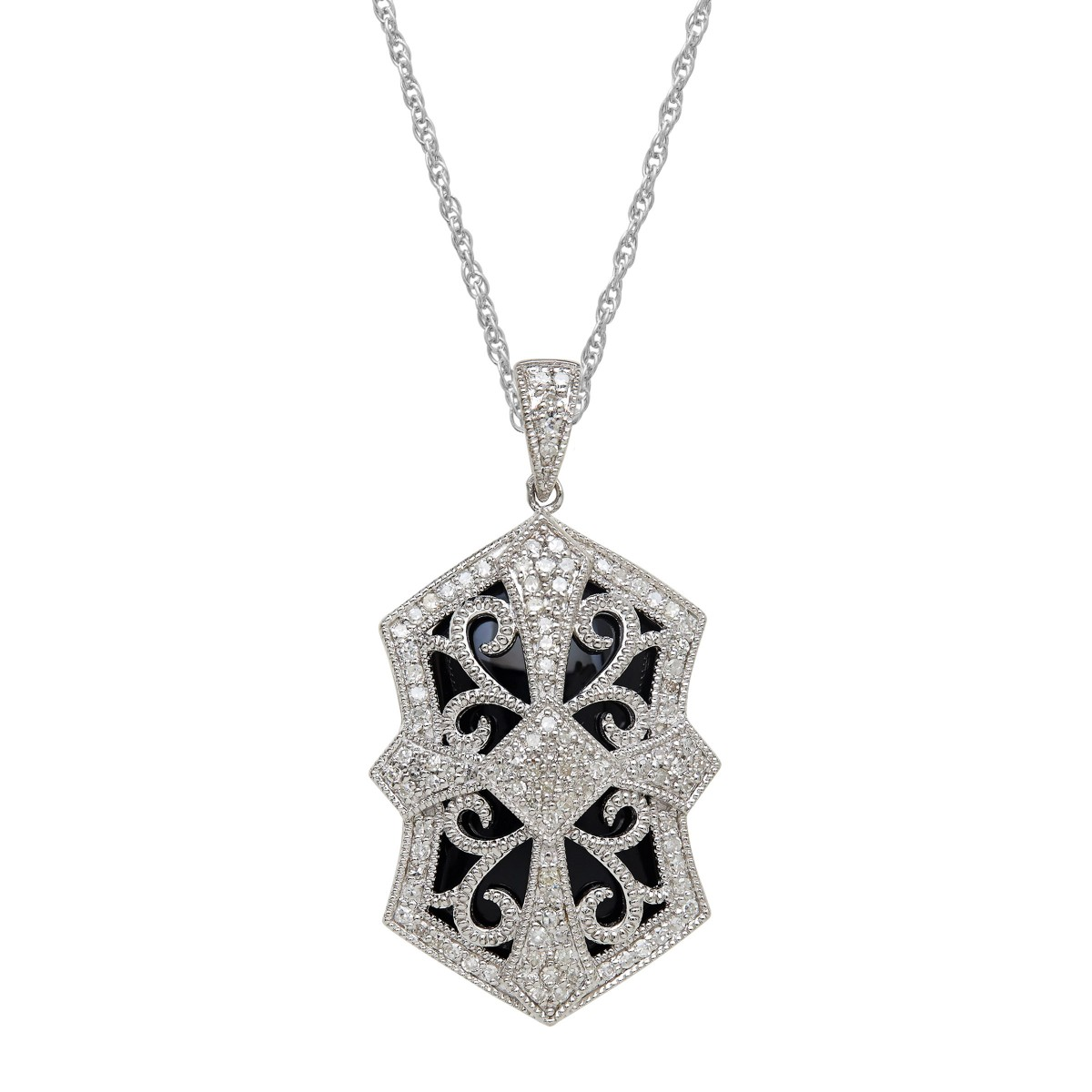 8ct Onyx, Silver and Diamond Art Deco Pendant