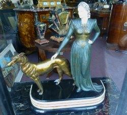 Art Deco Sculpture with Borzoi Dog