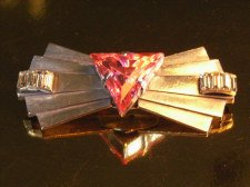 Art Deco Brooch in Steel with Pink Stone