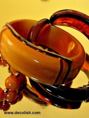 Bakelite Bracelets in Caramel Yellow and Tortoiseshell
