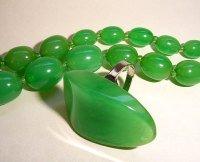 Green Bakelite Beads and ring