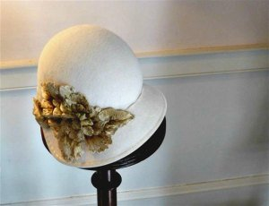 Cream Cloche with Applied Gold Flower