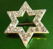 Czech Art Deco Star Brooch with Diamantes