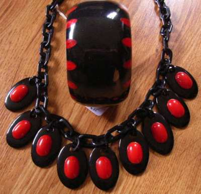 Red and Black injected bangle with necklace
