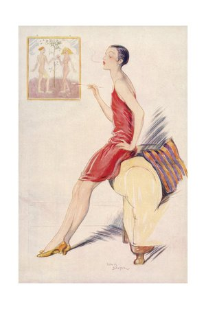 Flapper Smoking 1927 by Lewis Baumer