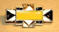 Art Deco Yellow Enamel Look Geometric Brooch