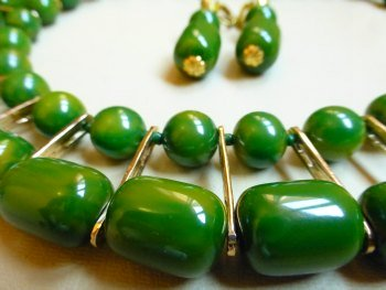 Bakelite Egyptian Style Necklace with Metal Findings