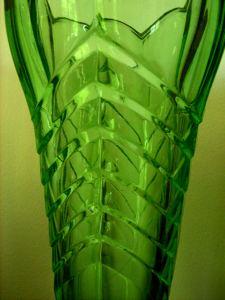 Green Depression Glass Vase - Art Deco Design