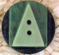 Art Deco Casein Button Green