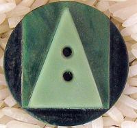 Art Deco Casein Button Green