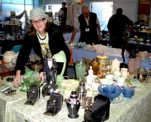 Decolish Owner Lesley Selling Some Art Deco Collectables in a Market