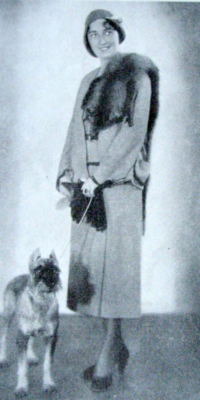 Lady from 1930s with Fox Fur and Dog