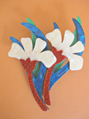 Lea Stein Double Flower Brooch
