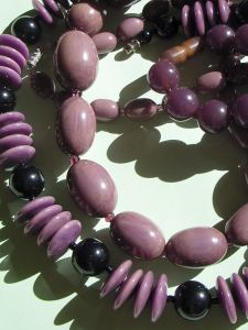 Lilac, Purple and Black Bakelite Beads
