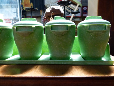 Green Art Deco Canisters