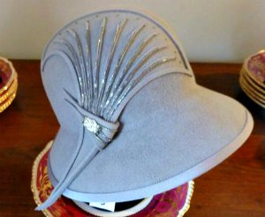 Pale Blue Cloche Hat with Art Deco Decoration