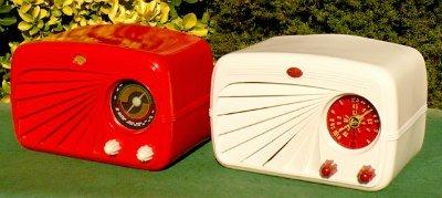 Red and Cream Deco Radios