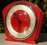 Red Art Deco Style Clock