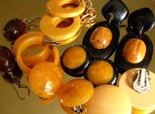 Yellow and Caramel Earrings in Bakelite