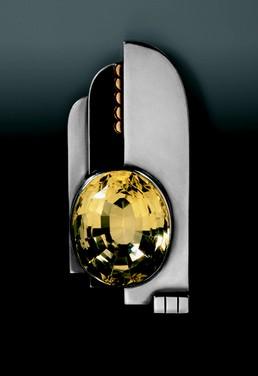 Silver and Citrine Art Deco Brooch