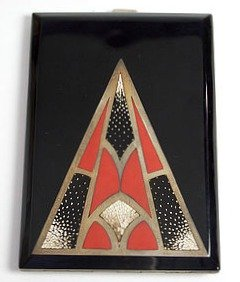Art Deco Cigarette Case in Black Red and Gold