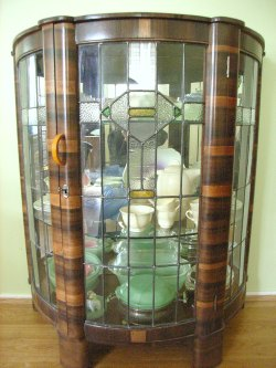 Art deco glass fronted cabinet