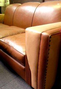art deco sofa, leather