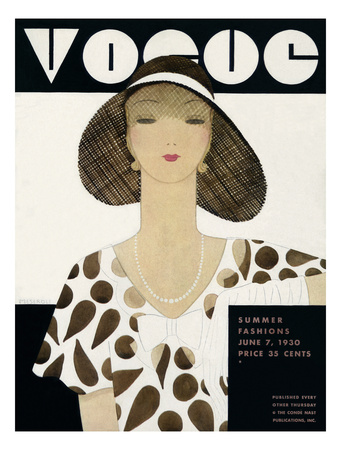 Vogue Cover 1930 Showing Summer Dress and Hat