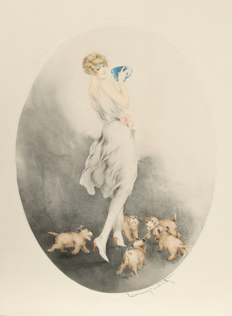 Louis Icart - Mealtime - Girl With Puppies