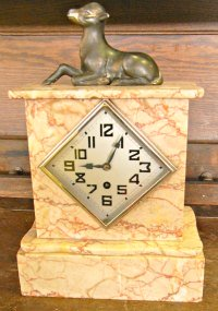 Marble clock with faun or lamb