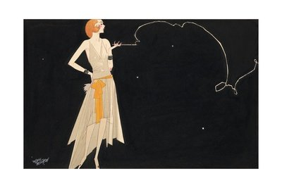 Russell Patterson Where There's Smoke There's Fire - Flapper Smoking with Black Background