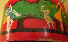 Art Deco Powder Box Showing Golf and Swimming
