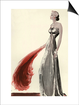 1930s Evening Dress with Halter Neck and Large Feather Fan